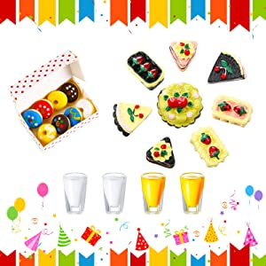 Skylety 13 Pieces 1:12 Miniature Dollhouse Food Drink Toys, Include 1 Food Donut Box, 8 Mini Cake Food Accessories, 2 Mini Juice Cups and 2 Mini Milk Cups for Miniature Dollhouse Kitchen Accessories