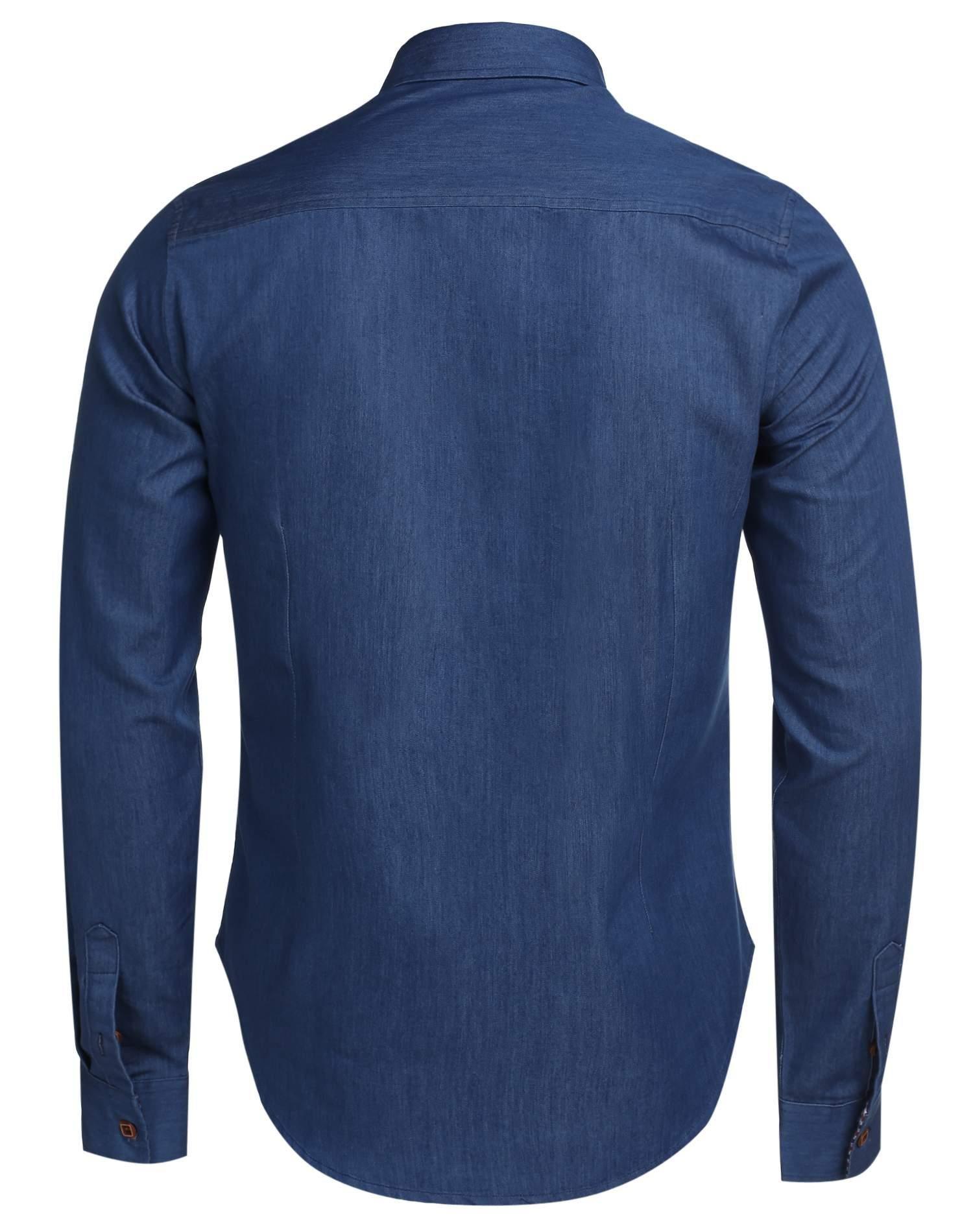 Coofandy Chemise Homme Coton Manche Longue Col Italien Décontracté Casual Bleu Foncé Taille L