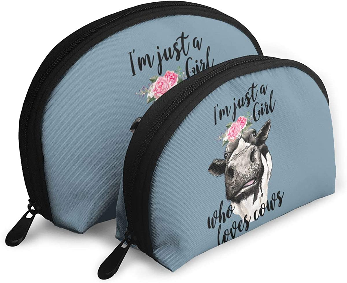 I M Just A Girl Who Loves Cows Flower Makeup Bags 2 Pcs Travel Cosmetic Bags