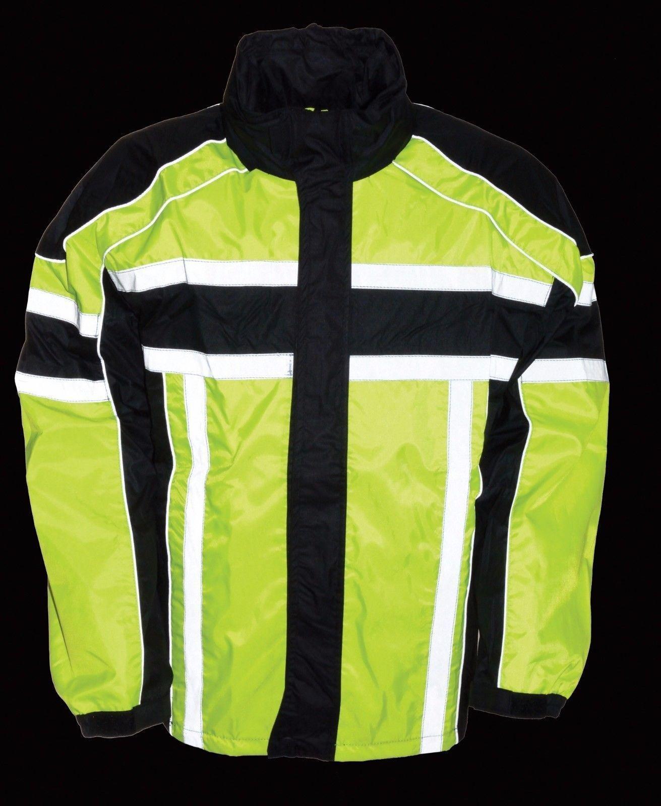 Milwaukee MEN'S RIDING MOTORCYCLE 100% NYLON RAIN SUIT GEAR BLACK/GREEN W/(5XL Regular)