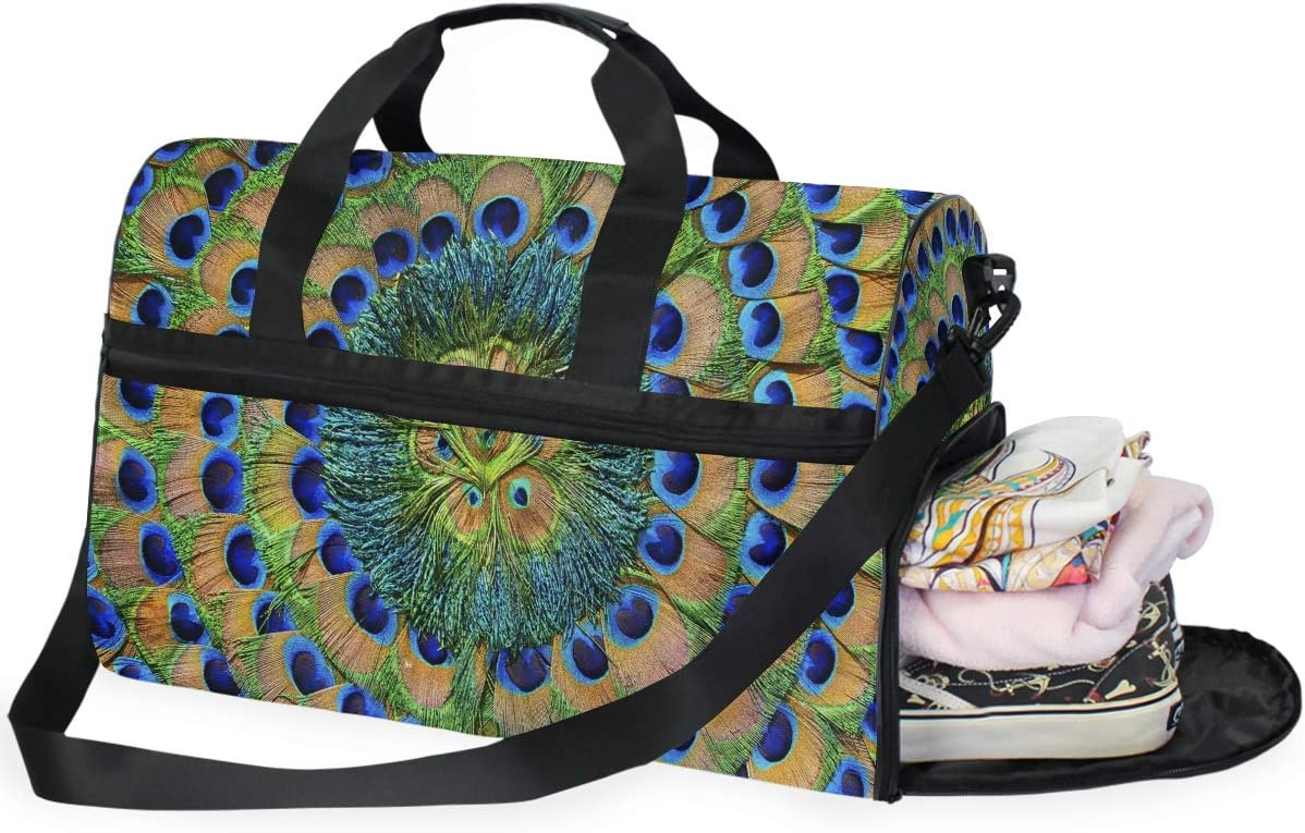 Peacock Feathers Sports Gym Bag with Shoes Compartment Travel Duffel Bag for Men and Women