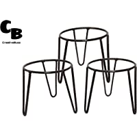 CreativeBuzz Round Iron Matka/Planter Pot Stand for Home, Garden, Balcony, Kitchen - (Black, 7x7x7-Inches)- Set of 3 Pieces
