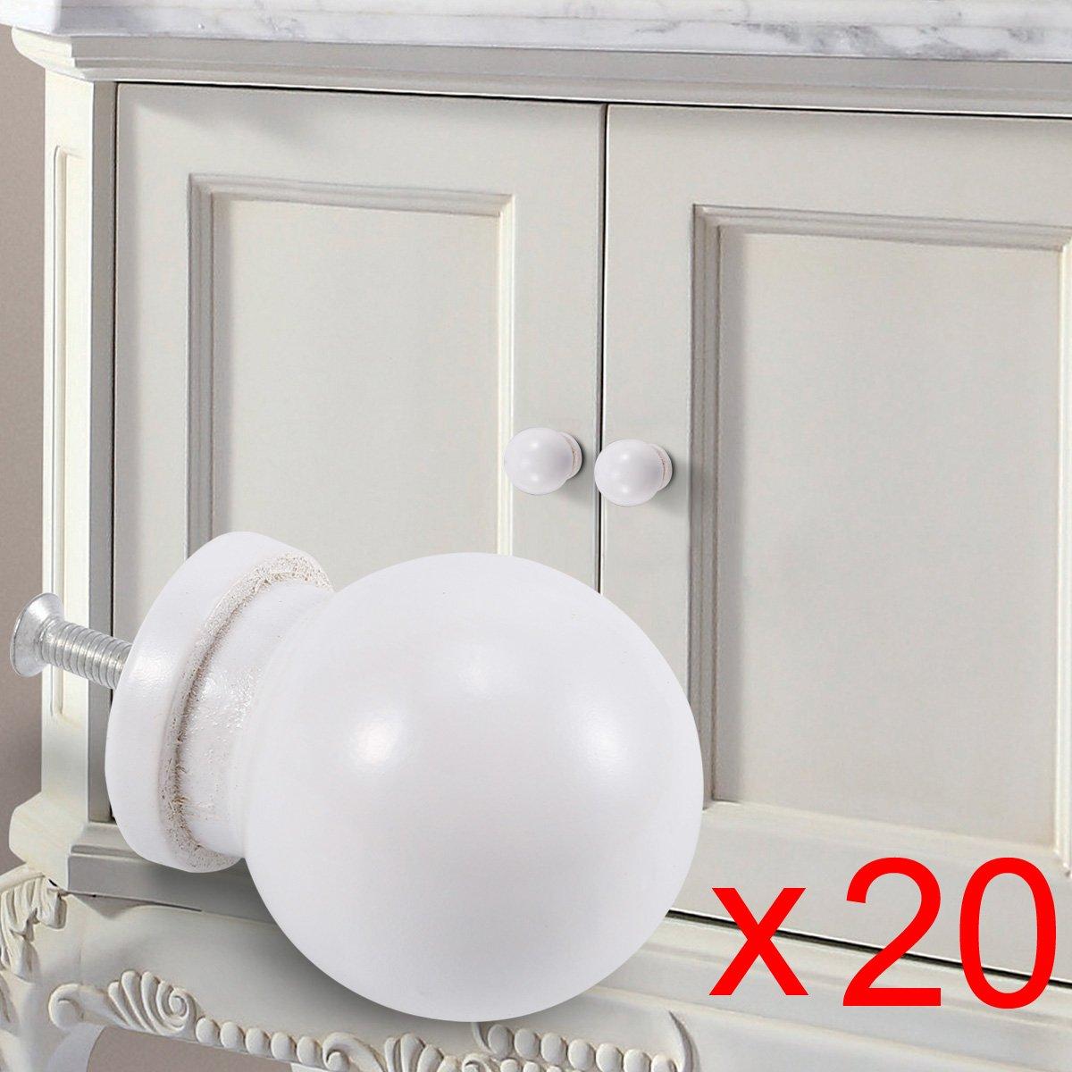 ball 20/St/ück Holz T/ür Pull Schublade Knopf Schrank Griff Schrank M/öbel White