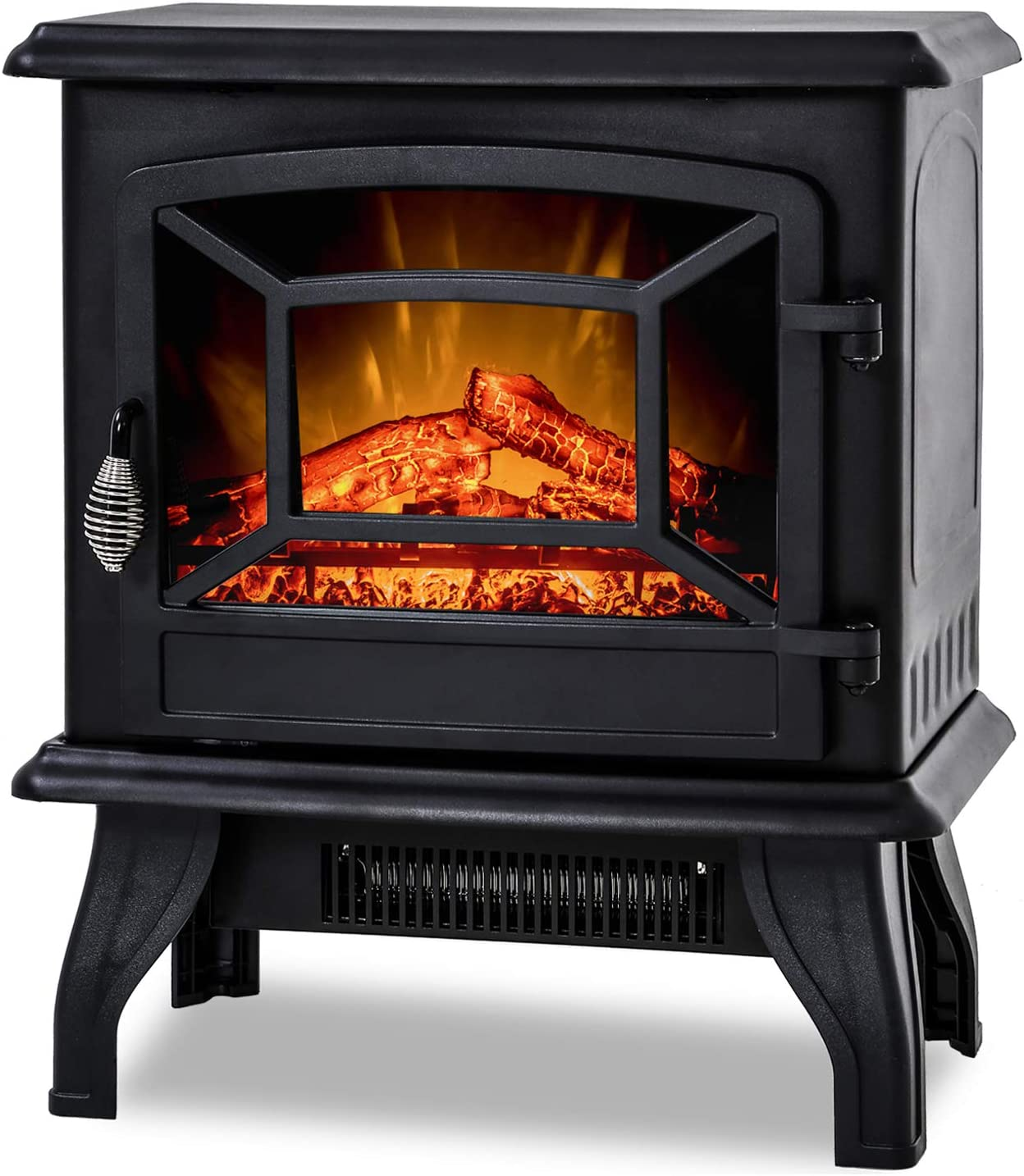 """BestMassage Electric Fireplace Heater Stove Portable Space Heater Freestanding Fireplace for Home Office with Realistic Log Flame Effect 1500W CSA Approved Safety 20"""" Wx17 Hx10 D,Black"""