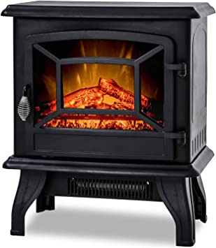 Bestmassage Electric Fireplace Heater Stove Portable Space Heater Freestanding Fireplace For Home Office With Realistic Log Flame Effect 1500w Csa Approved Safety 20 Wx17 Hx10 D Black Furniture Decor