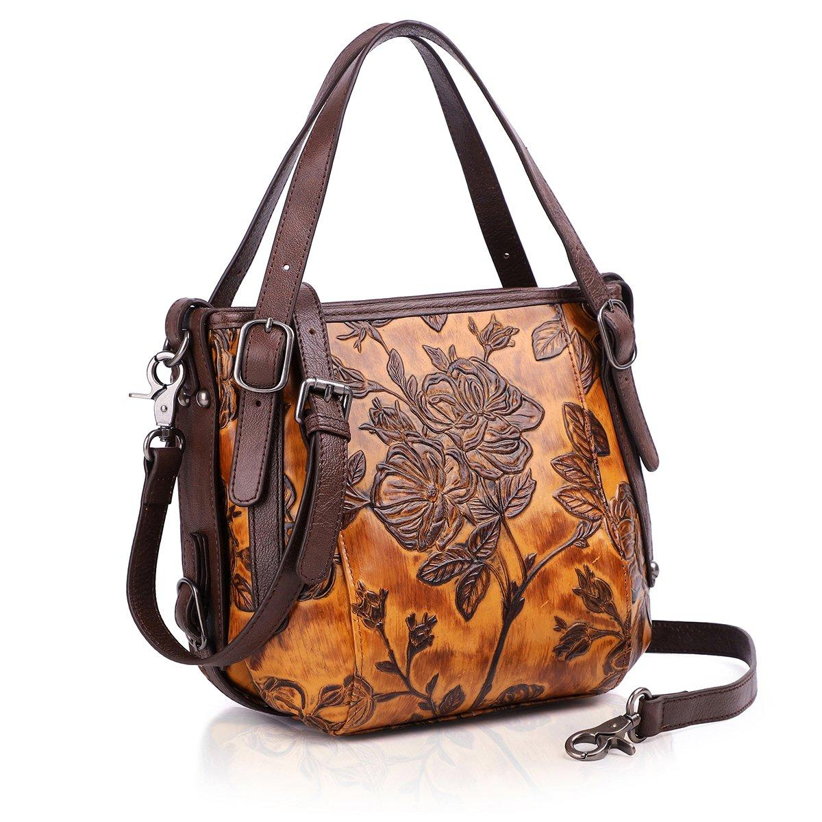 APHISON Designer Unique Embossed Floral Cowhide Leather Tote Style Ladies  Shoulder Bags Handbags 83588 Yellow  Amazon.ca  Shoes   Handbags