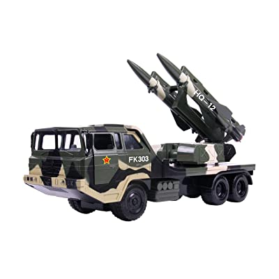 Big Daddy Military Missile Transport Army Truck Anti Aircraft Twin Missile Jungle Camouflage Toy Truck: Toys & Games