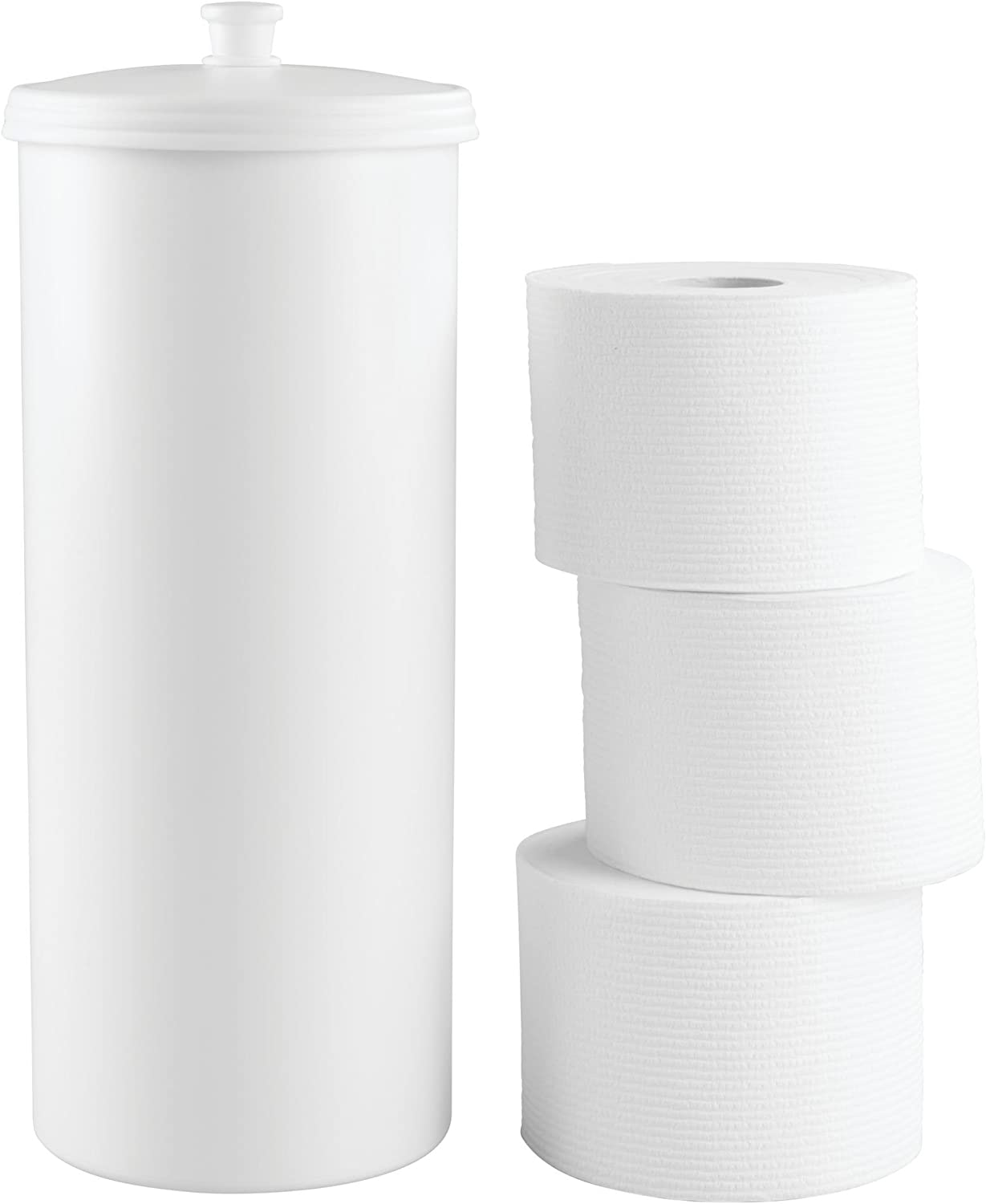 Amazon Com Idesign Kent Plastic Toilet Paper Tissue Roll Reserve Canister Free Standing Organizer For Master Guest Kid S Office Bathroom Or Closet 6 25 X 6 25 X 15 5 White Home Kitchen