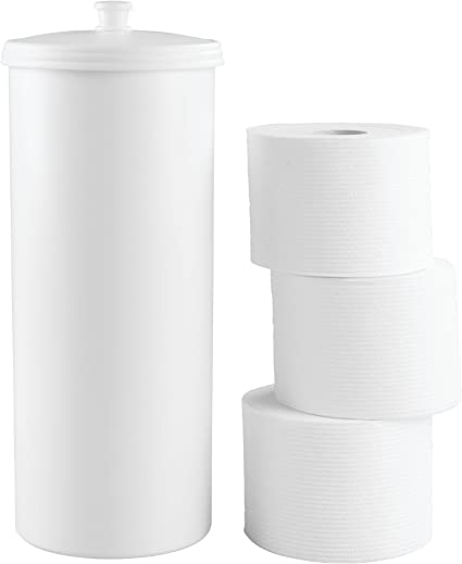 Idesign Kent Plastic Toilet Paper Tissue Roll Reserve Canister Free Standing Organizer For Master Guest Kid S Office Bathroom Or Closet 6 25 X 6 25 X 15 5 White Home Kitchen Amazon Com