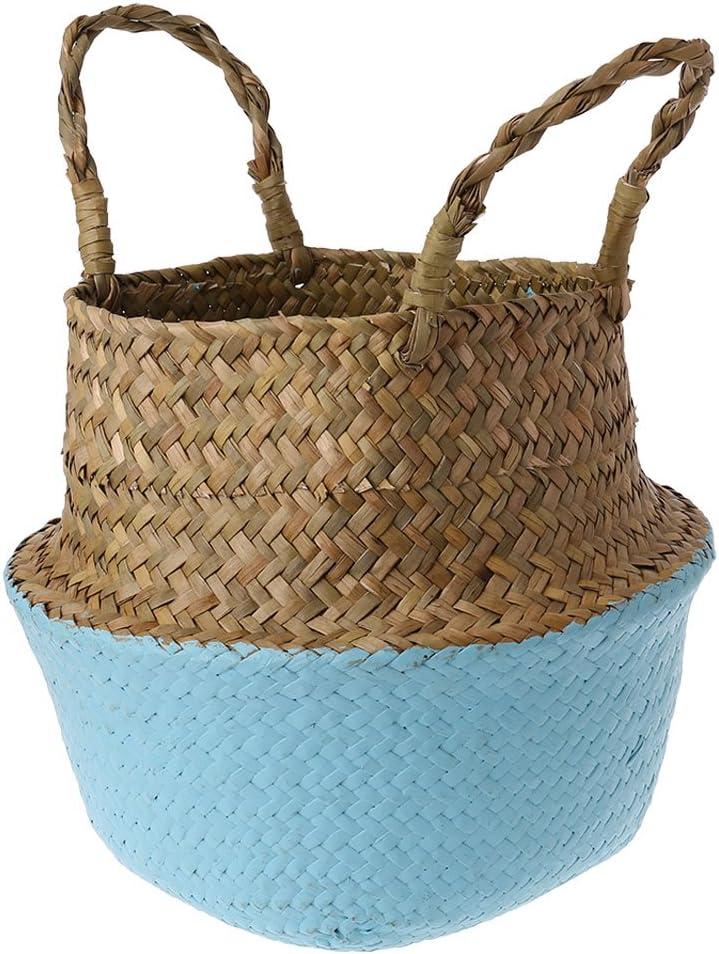 Teekit Canasta de Mimbre de Mimbre de Seagrass Colgante de Maceta Sucia Canasta de Almacenamiento de Cesta de lavander/ía,S