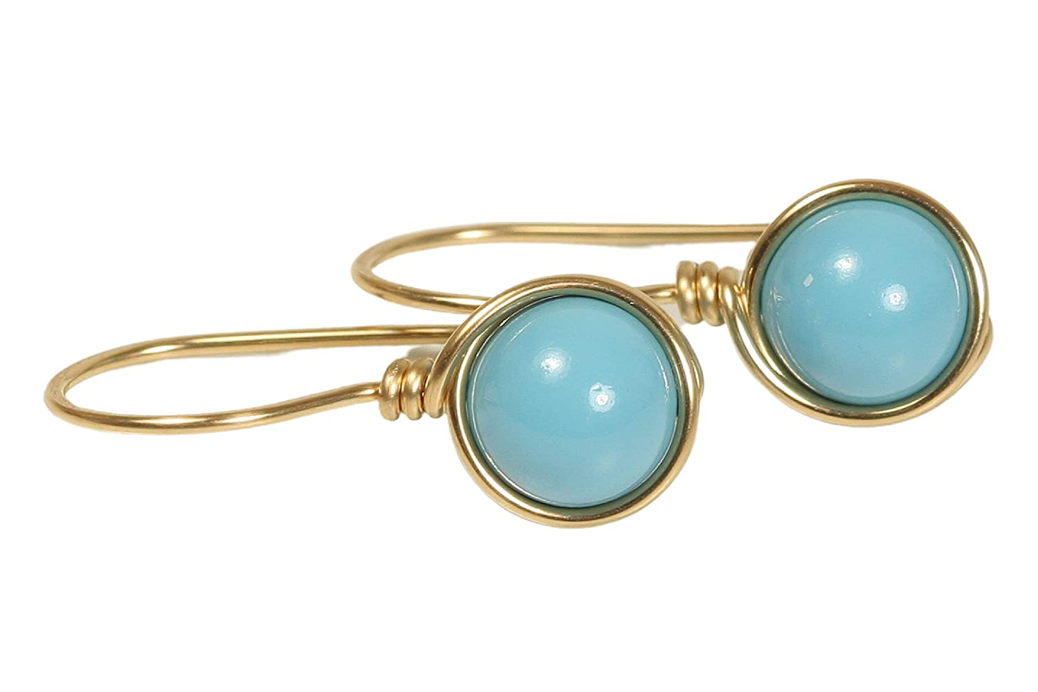 Turquoise Earrings Gold  Gold Filled Moon Earrings  Handmade Jewelry  Turquoise Moon Earrings Gold  14k Gold Filled  Wire Wrapped