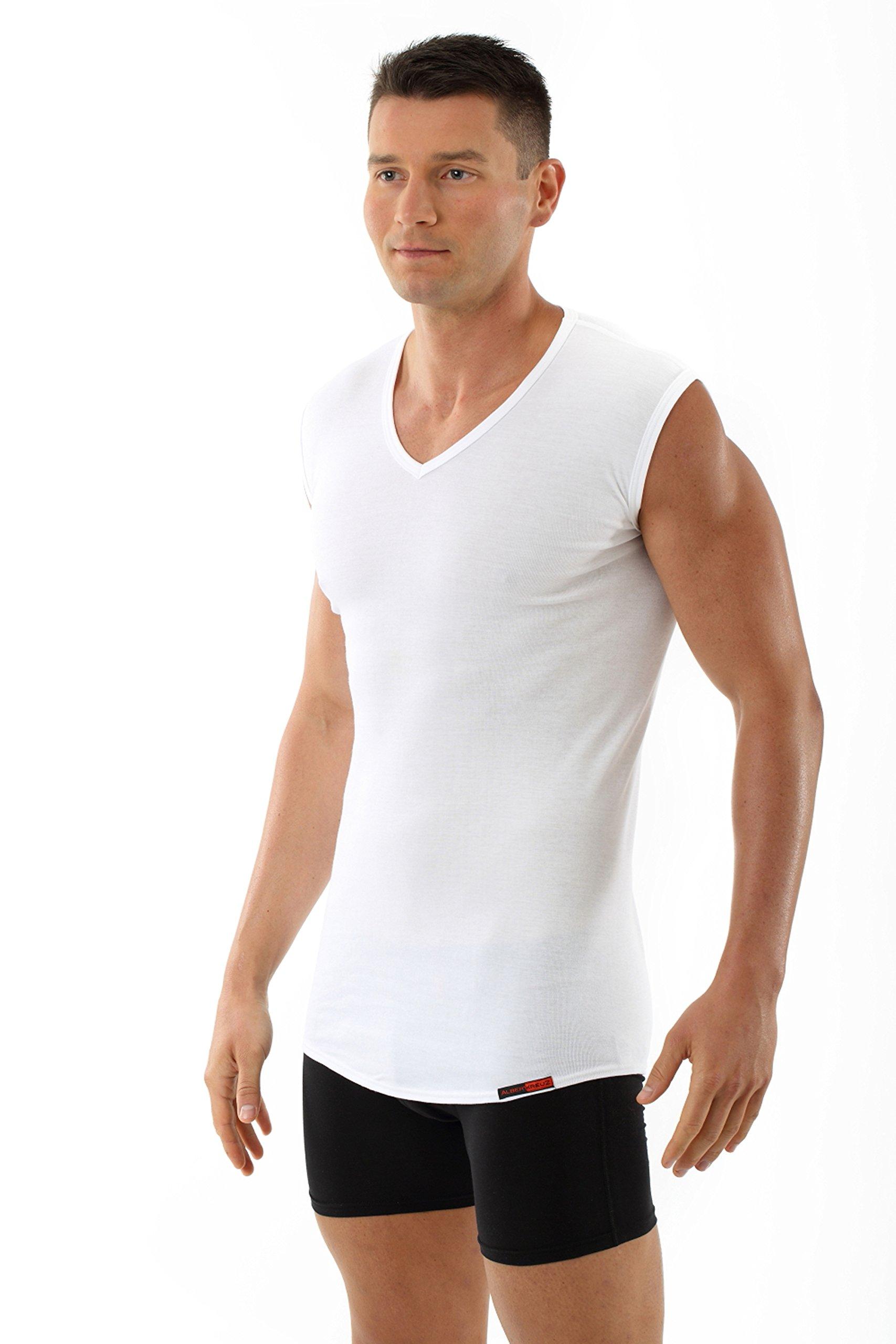 ALBERT KREUZ men's sleeveless V-neck business undershirt 100% organic cotton white M