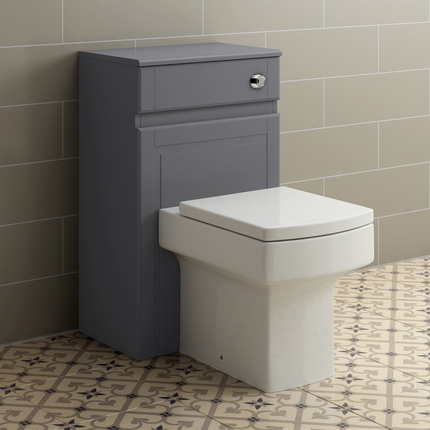 500mm Grey Back To Wall Toilet Concealed Cistern Housing Unit Bathroom Furniture