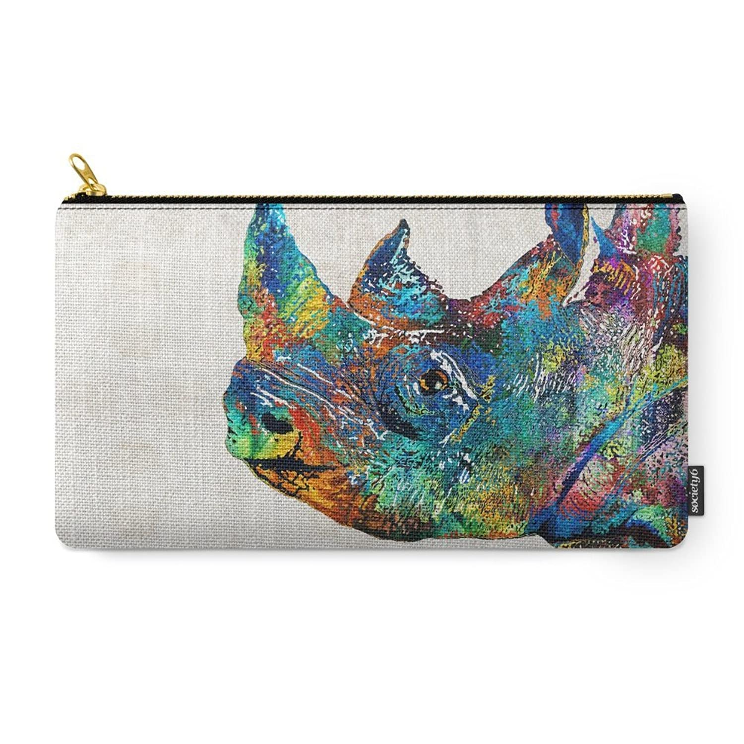 Society6 Rhino Rhinoceros Art - Looking Up - By Sharon Cummings Carry-All Pouch