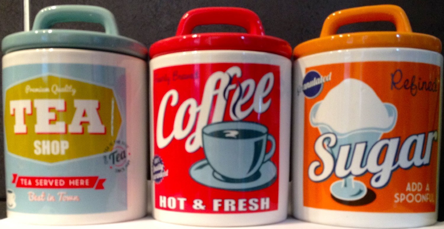 Retro Set 0f 3 Classic 50's Style Tea, Coffee & Sugar Ceramic Jars