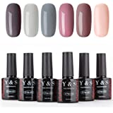 Y&S Soak Off Gel Nail Polish UV LED Colour Set 6 Bottles Nail Gel Polish Varnish Manicure Home Use Kit 10ml Each