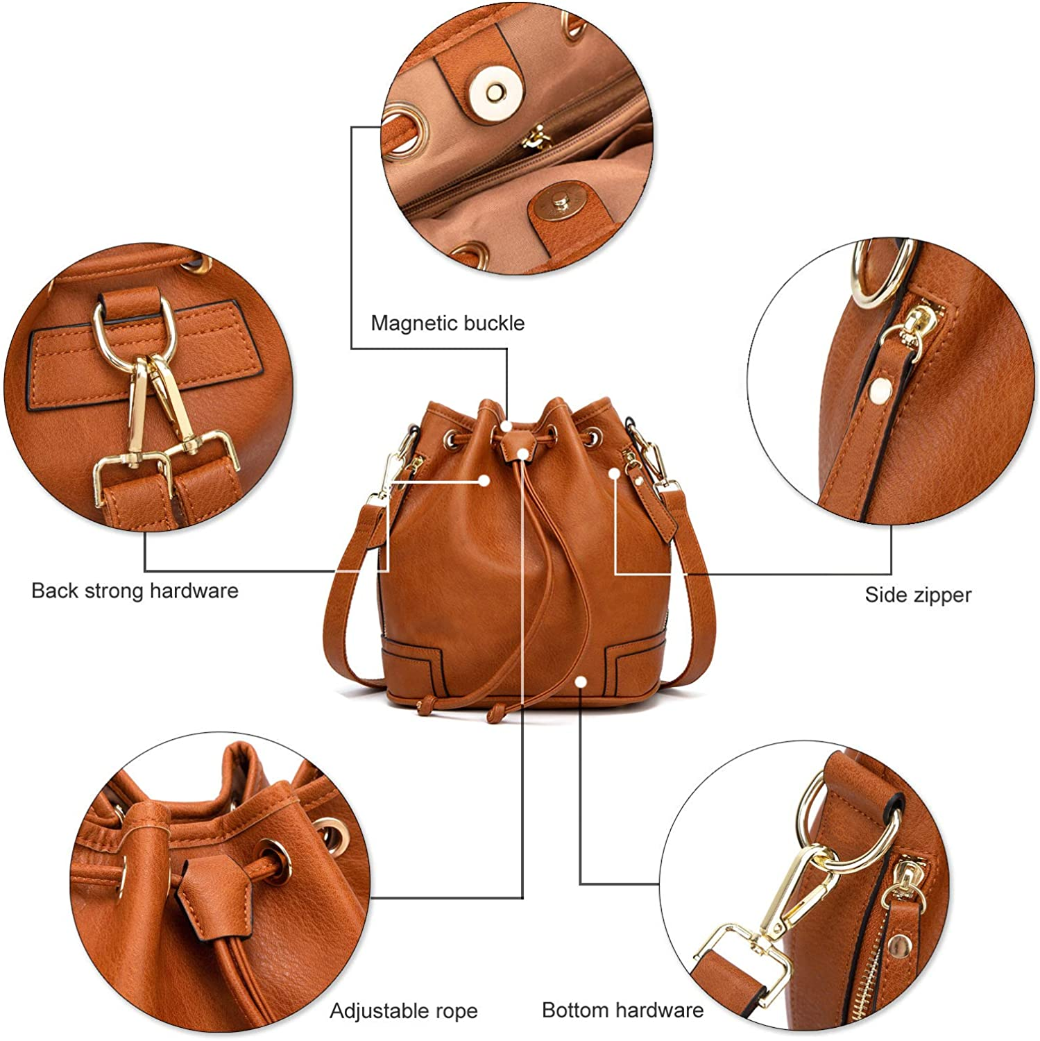 Hobo Bags Handbags and Purse for Women Bucket Purse with Crossbody Bags Strap Ladies Shoulder Bags