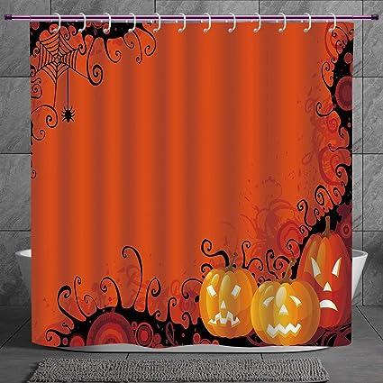 Fun Shower Curtain 20 Spider WebThree Halloween Pumpkins Abstract Black Web Pattern Trick