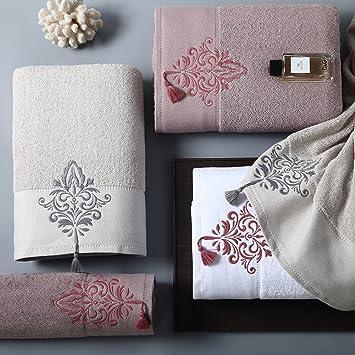 Toallas de baño Toalla algodón puro bordado engrosamiento exquisito borde flecos algodón agua suave par gran Blanco 80x150cm(31x59inch): Amazon.es: Hogar