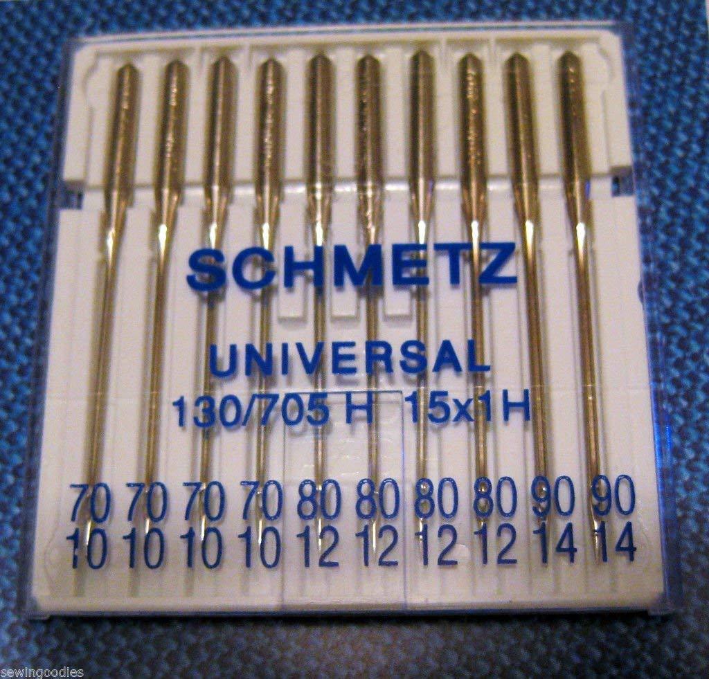 Aghi per macchina da cucire universali Assorted 70-90 misure assortite 70//10 Schmetz standard//standard 80//12 e 90//14 confezione da 10 2 Threaders