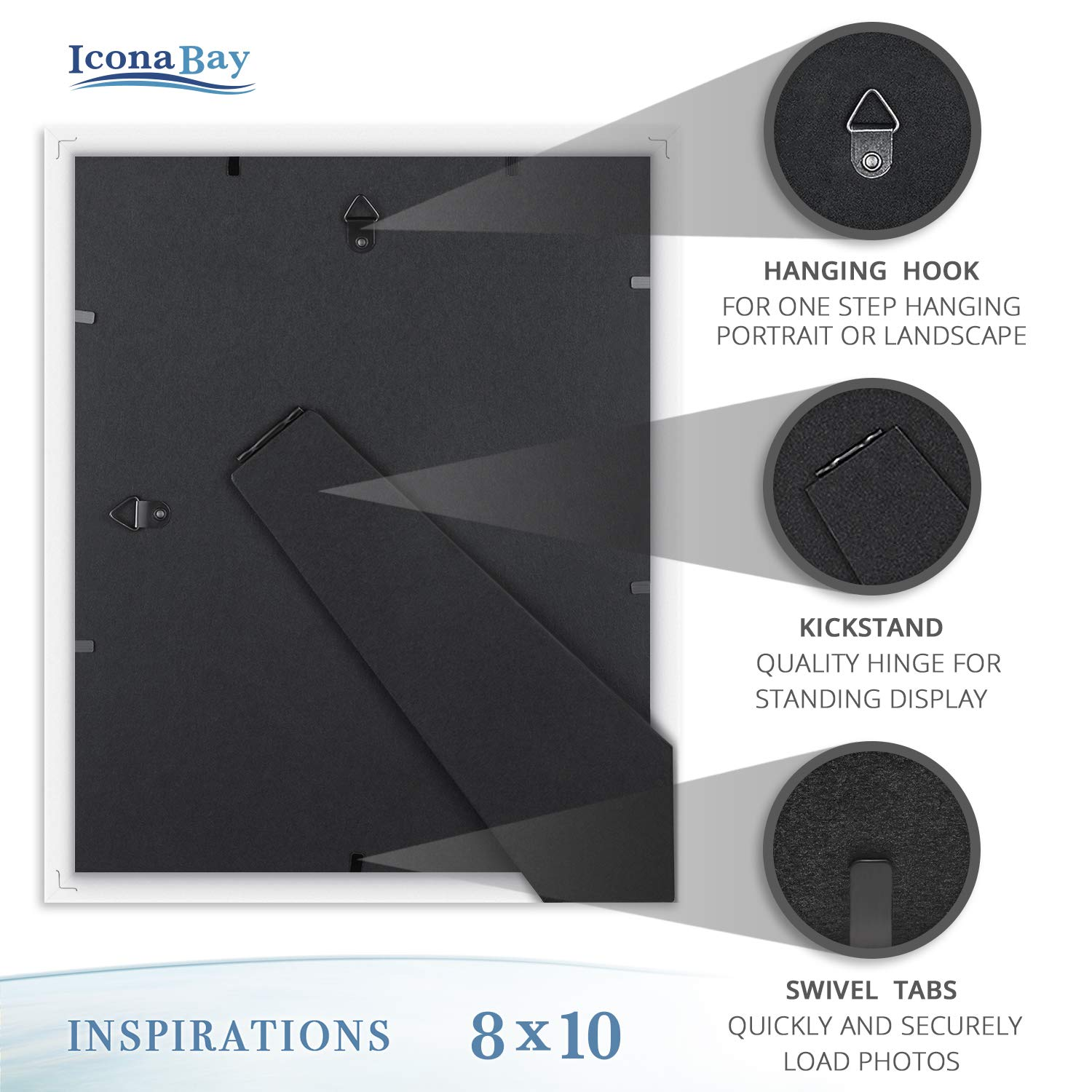 Icona Bay 8x10 Picture Frames (6 Pack, White) Picture Frame Set, Wall Mount or Table Top, Set of 6 Inspirations Collection by Icona Bay (Image #6)