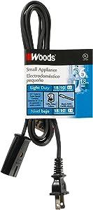 Woods 294 HPN Mini Plug Appliance Cord, 6-Foot, Black