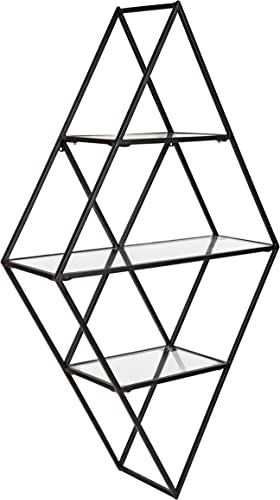 Kate and Laurel Kailynn Geometric Metal and Glass Wall Shelf, 18.5 x 32 , Black, Modern Wall Decor and Storage