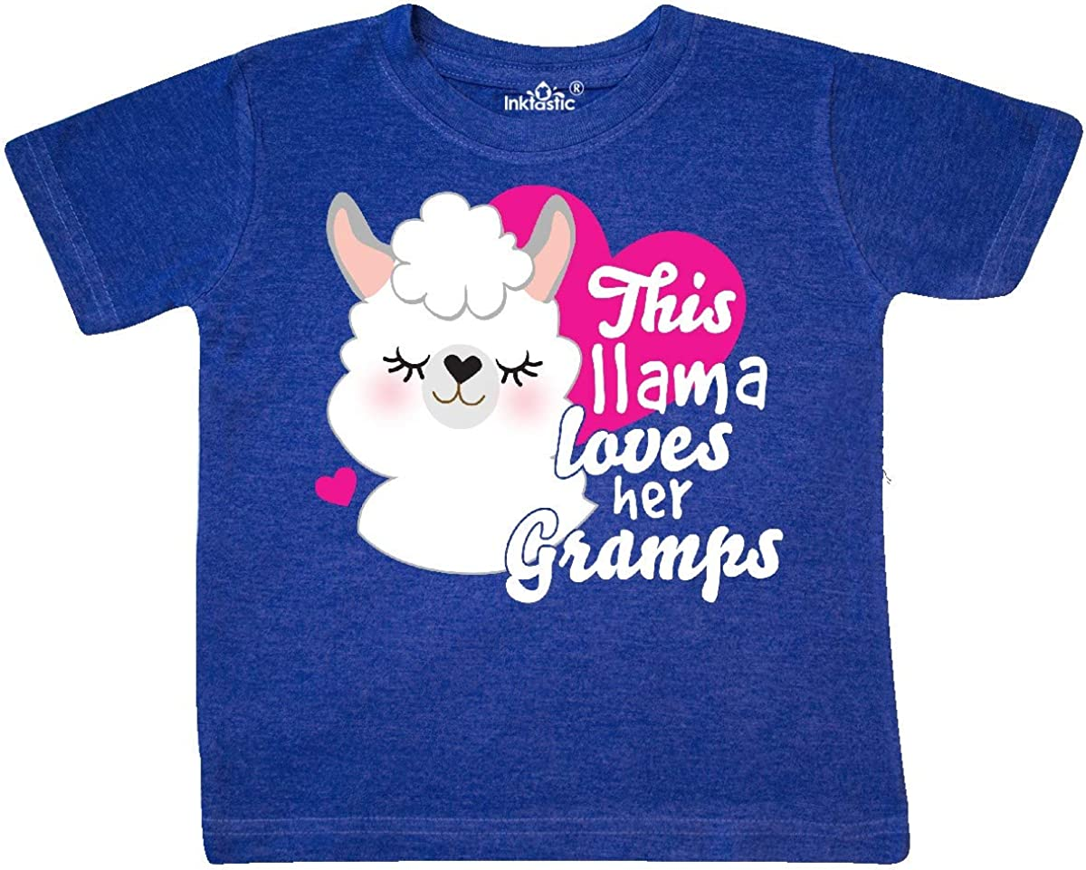 inktastic Valentines Day This Llama Loves Her Gramps Toddler T-Shirt