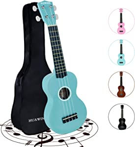 HUAWIND Soprano Ukulele for Beginners,Kid Guitar Four String Wooden Ukulele 21 Inch Music Instruments With Gig Bag For Students Kids Starters(Light Blue)