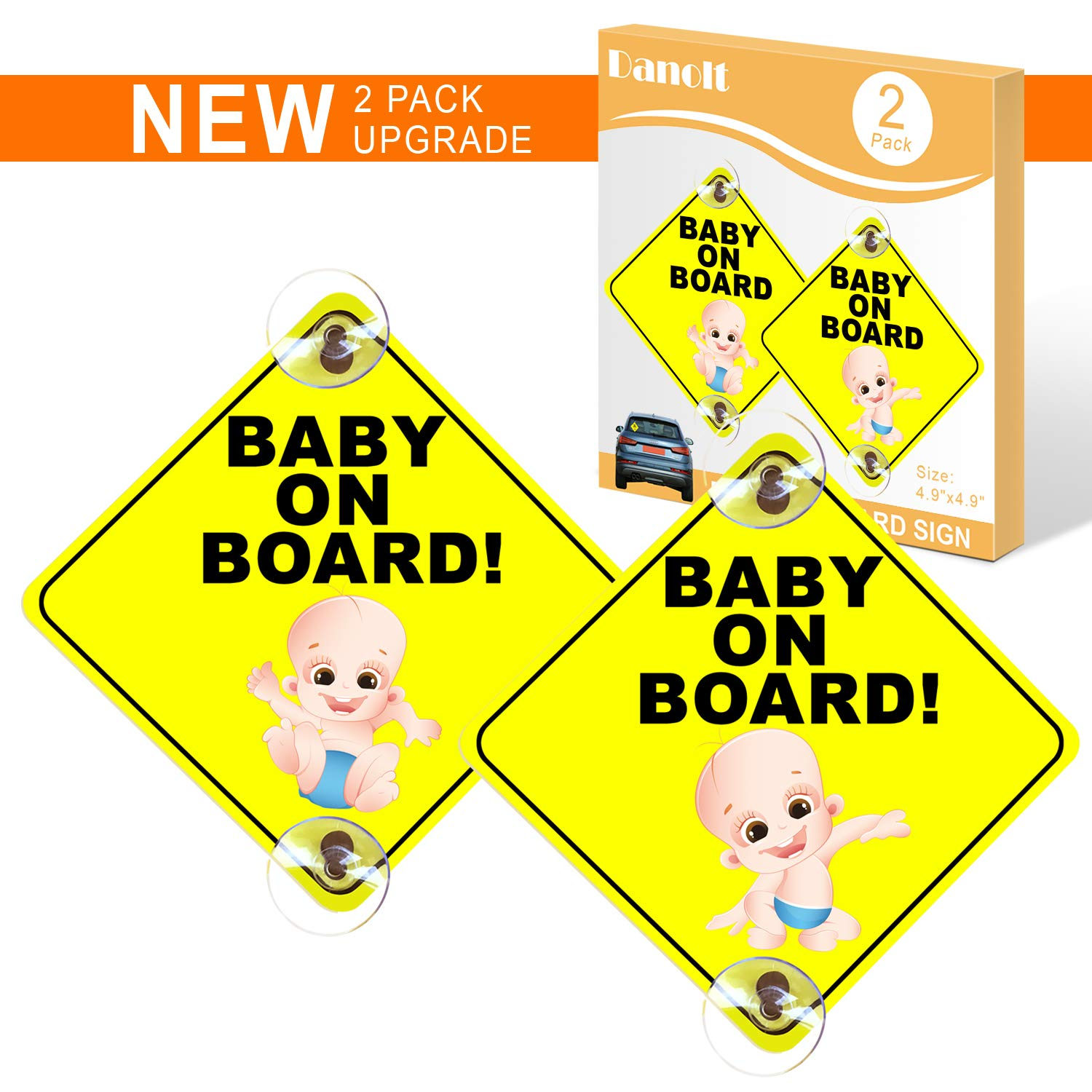 """Baby On Board Car Vehicle Sign Yellow 125mm x 125mm 5/"""" x 5/"""" Safety Suction Type"""