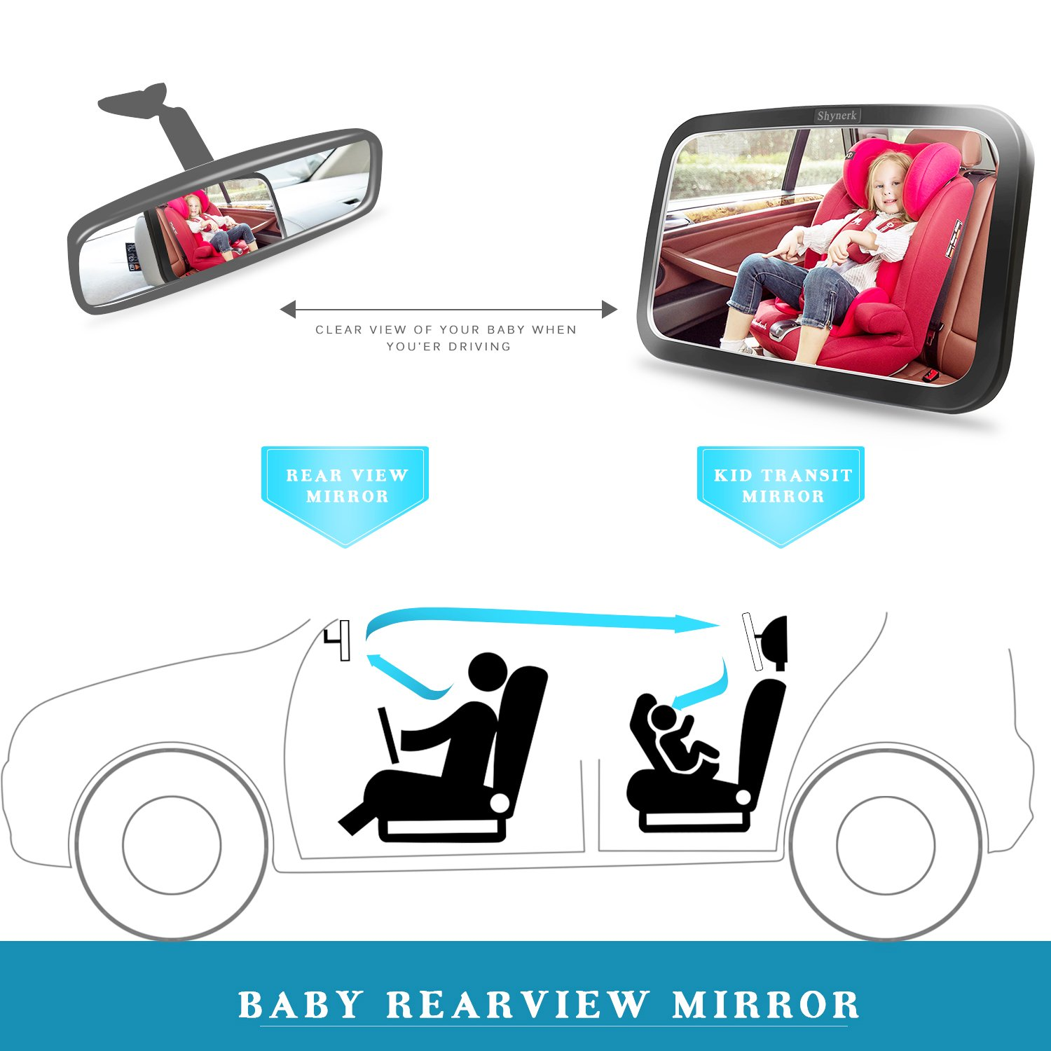 Baby Car Mirror for Rear View Car Seat with Crash Tested and Certified for Safety