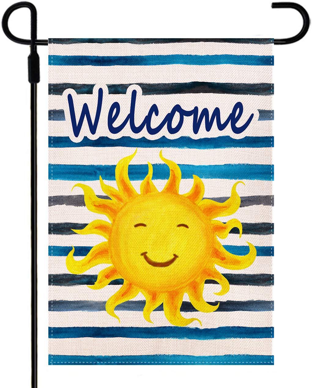 Doncida Welcome Sunshine Summer Garden Flag Double Sided Beach Sun Sunshine Garden Flag, Burlap Yard Flag Seasonal Summer Outdoor Decoration 12.5 x 18 Inch