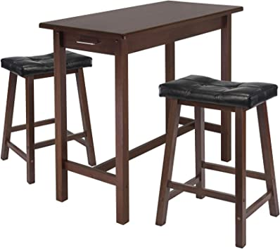 Winsome Kitchen Island Table With 2 Cushion Saddle Seat Stools 3 Piece Table Chair Sets