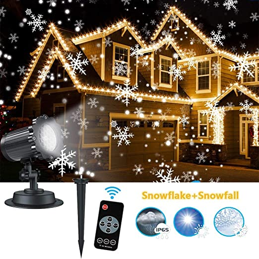 Led Christmas Projector Lights Snowflake Snow Falling Projector