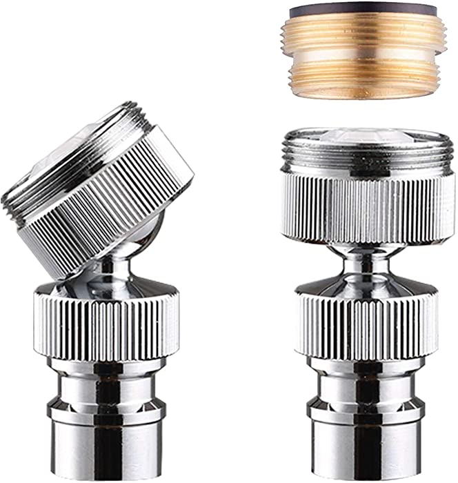 Dishwasher Faucet Adapter, Dishwasher Snap Adapter, 56/64-27 Threaded with Small Diameter Nipple, Chrome Plated, Brass