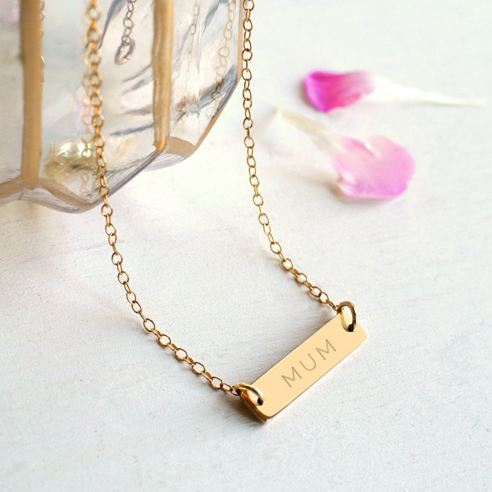 Personalised Gold Mother's Day Bar Necklace MOM, MOMMY, MOTHER, MUM, MUMMY, MAMA or MAMMA