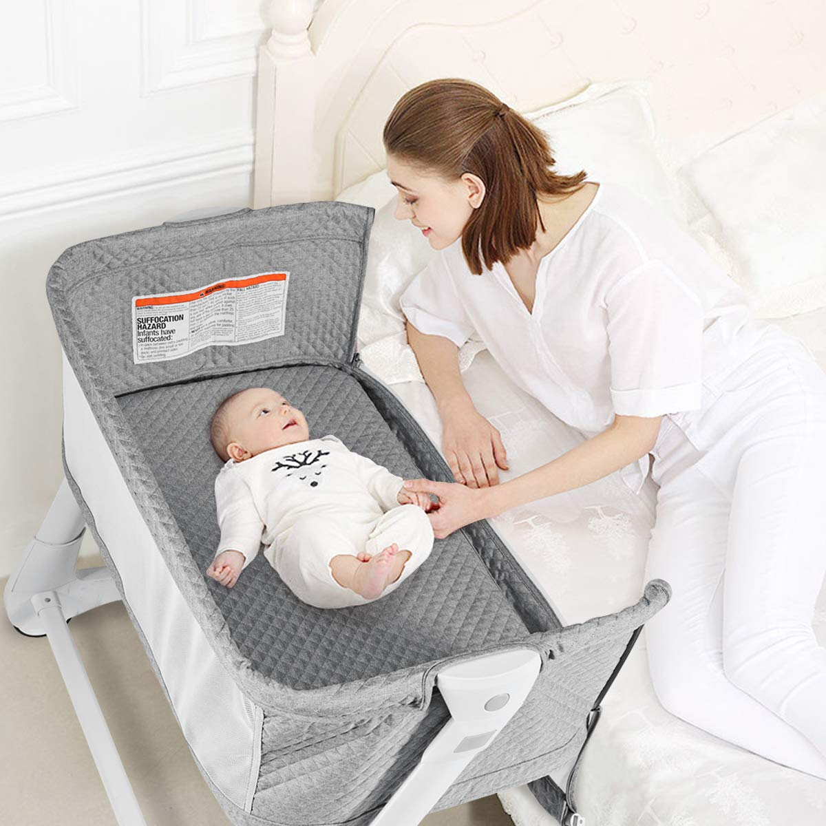 BABY JOY Baby Bedside Crib