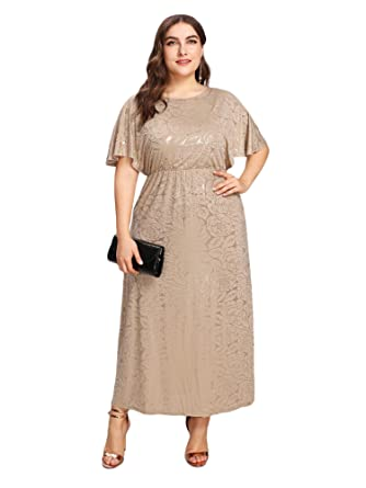 673fe83b093 ESPRLIA Women s Plus Size 3 4 Sleeve Surplice Lace Crochet A Line Skater  Dress (