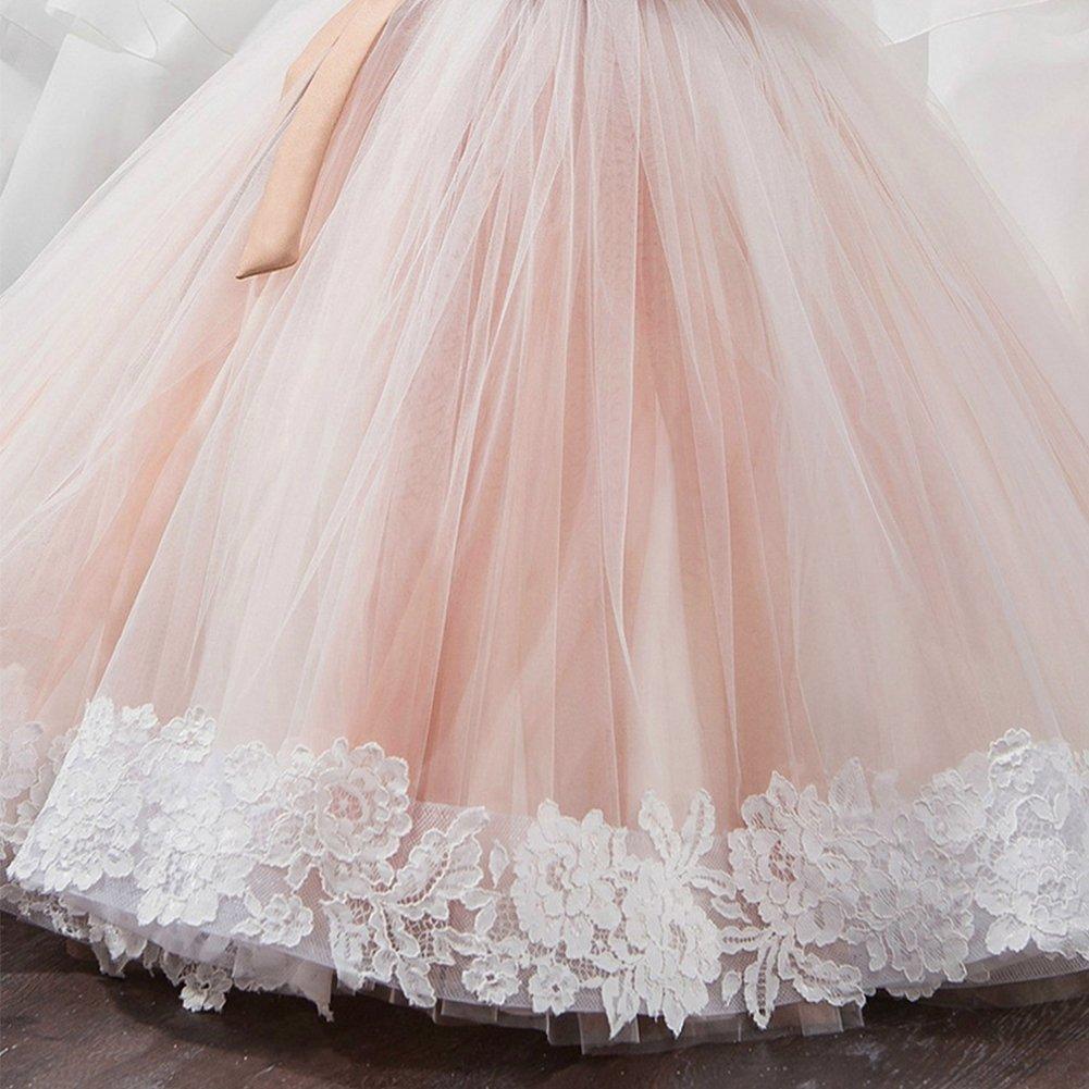 66184702f IBTOM CASTLE Vestido de niña de Flores para la Boda Niños Largo Gala Encaje  De Ceremonia ...