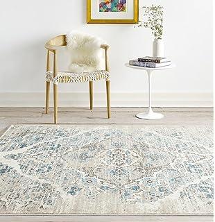 distressed cream area rug carpet large new