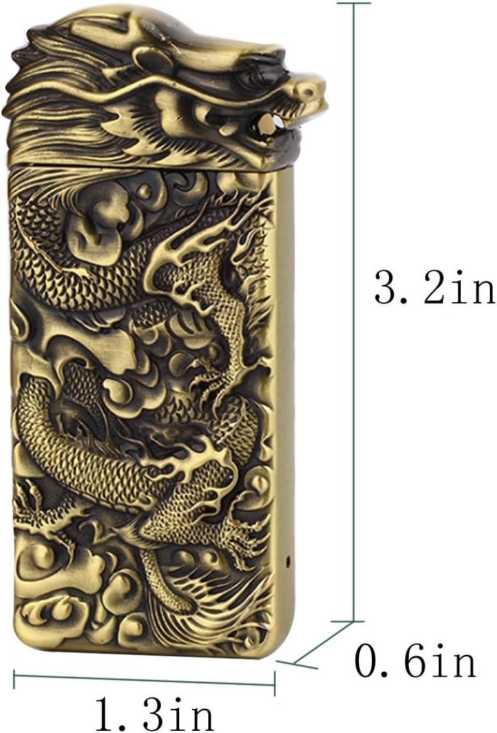 Millya UK Exquisite Dragon Embossed Electric Lighter USB Rechargeable Gravity Sensor Lighter