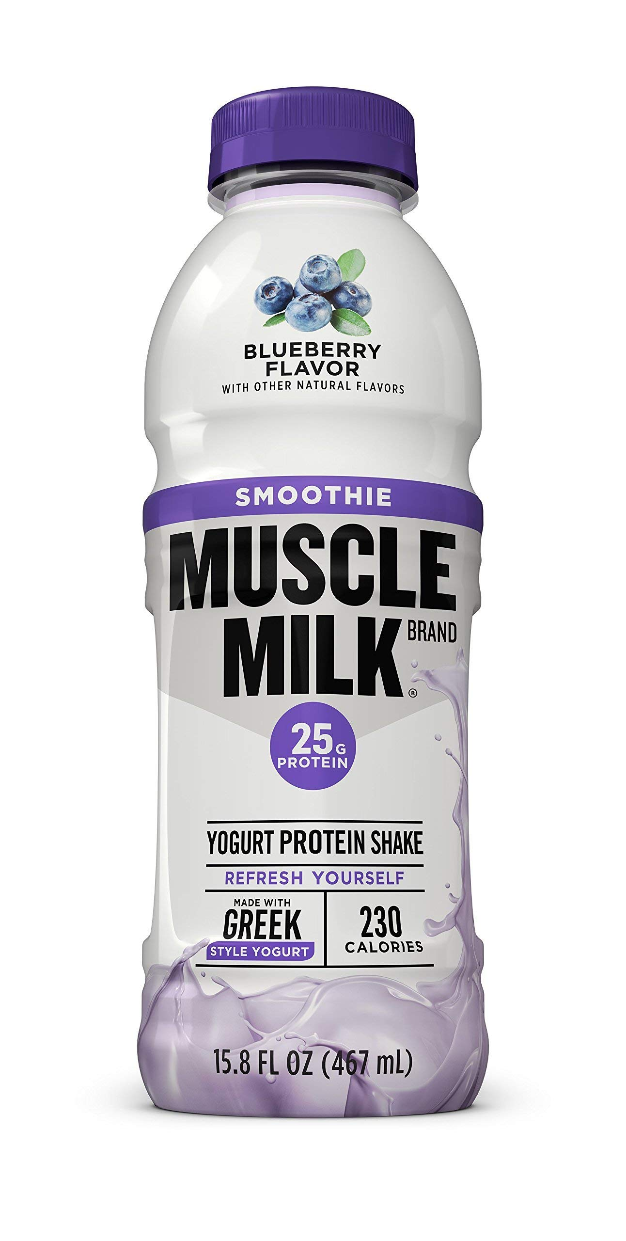 Muscle Milk Smoothie Protein Yogurt Shake, Blueberry, 25g Protein, 15.8 FL OZ, 12 Count by CytoSport