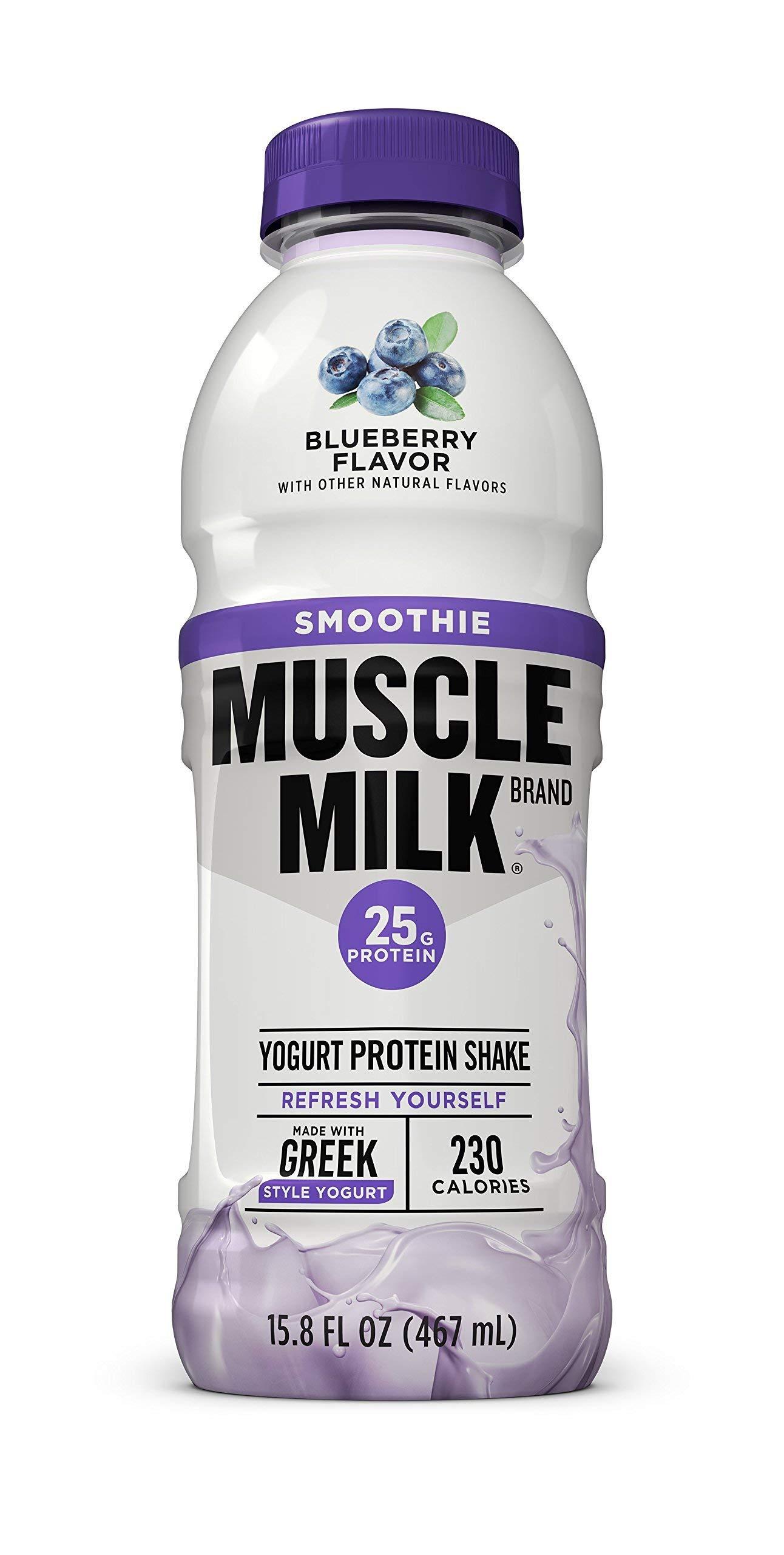 Muscle Milk Smoothie Protein Yogurt Shake, Blueberry, 25g Protein, 15.8 FL OZ,