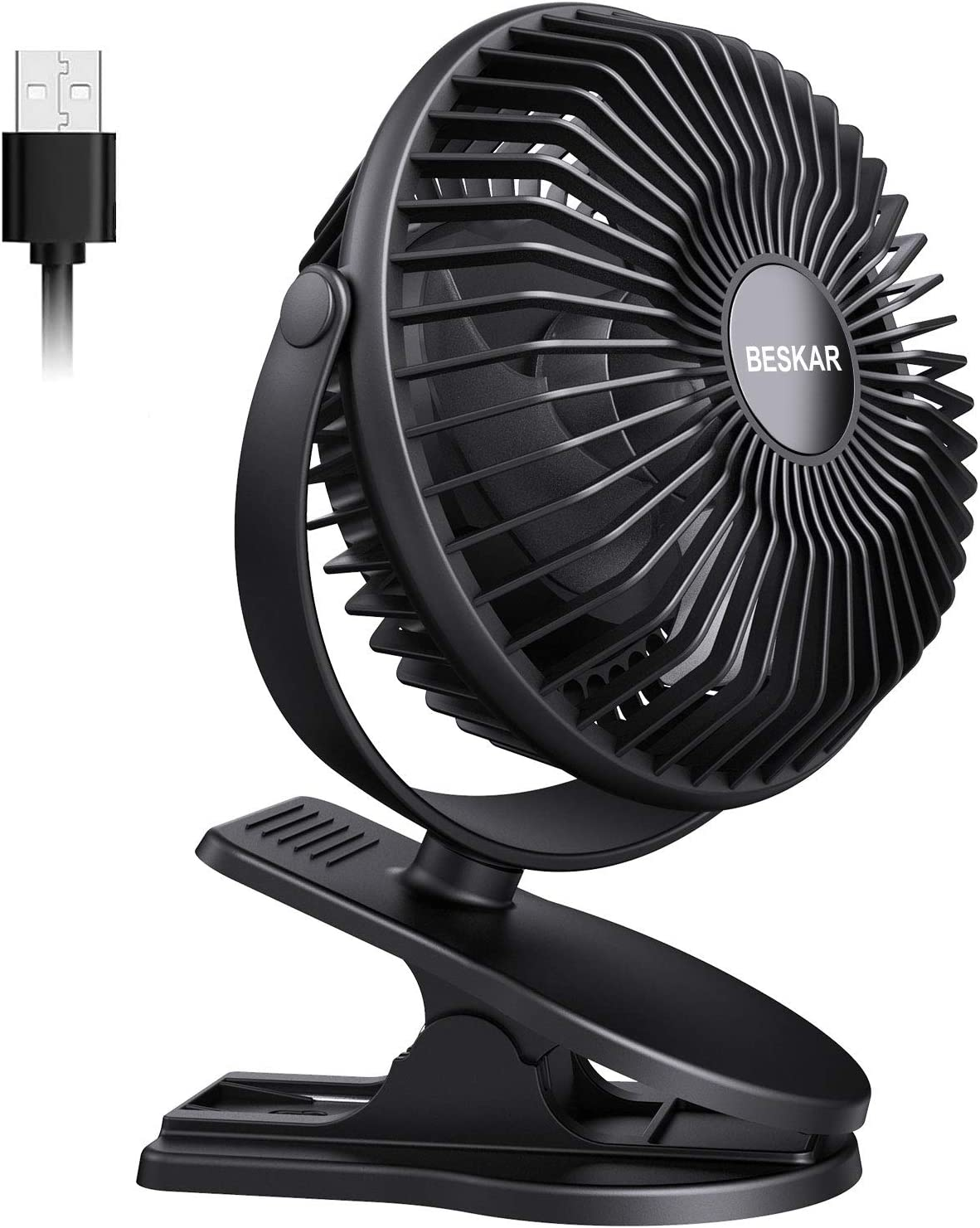 BESKAR USB Powered Clip on Fan,360° Rotation Quiet Stroller Fan with Strong Airflow,3 Speeds Portable Small Fan with Sturdy Clamp,Perfect Personal Cooling Fan for Office Table Bedroom Kitchen
