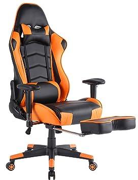 Top Gamer- Silla para ordenador con reposapies, altura ajustable, cuero sintético, Naranja: Amazon.es: Hogar
