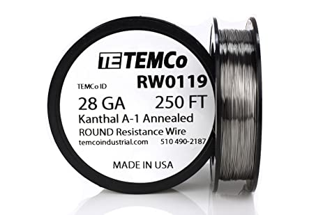 TEMCo Kanthal A1 wire 28 Gauge 250 Ft Resistance AWG A-1 ga ...