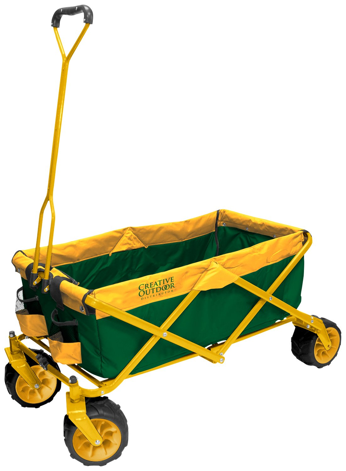 Creative Outdoor Distributor All-Terrain Folding SPORTS Team Wagon, 900555 (Green/YellowWheels) - Multipurpose Cart for Gardening, Camping, Beach Trips, and Travelling by Creative Outdoor Distributor