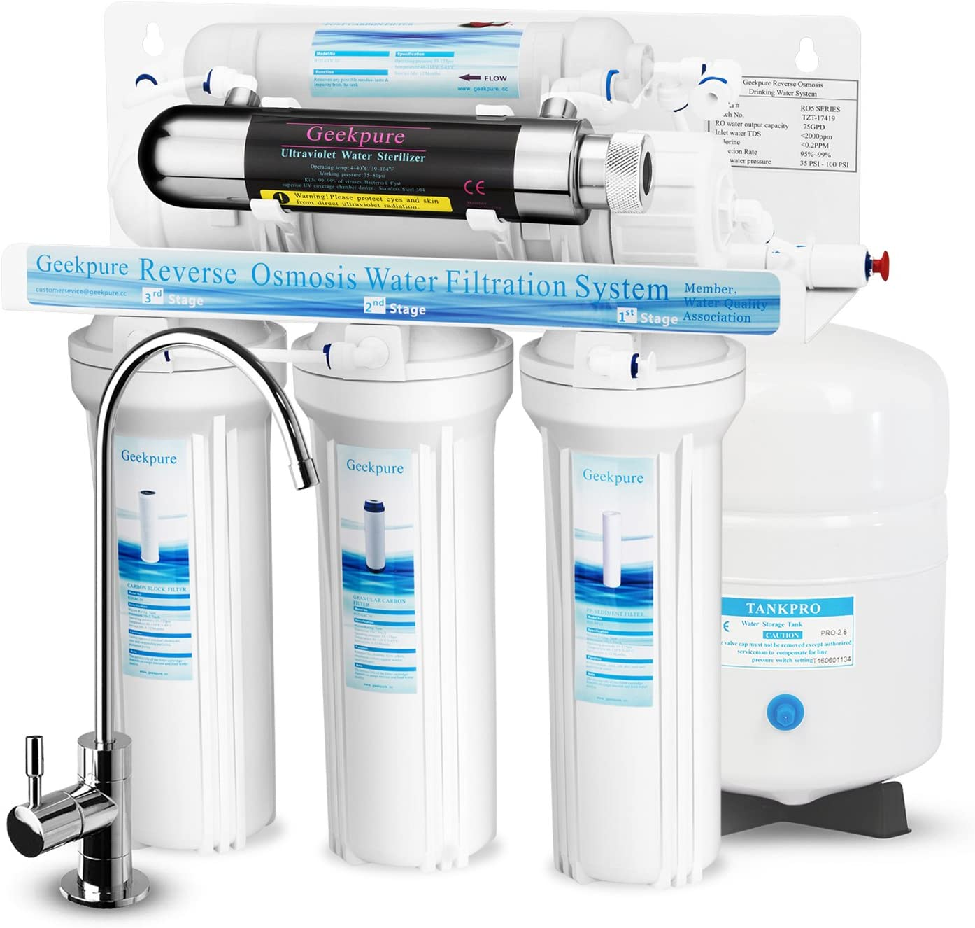 Geekpure 6-Stage Reverse Osmosis Drinking Water Filter System with UV Filter-75GPD