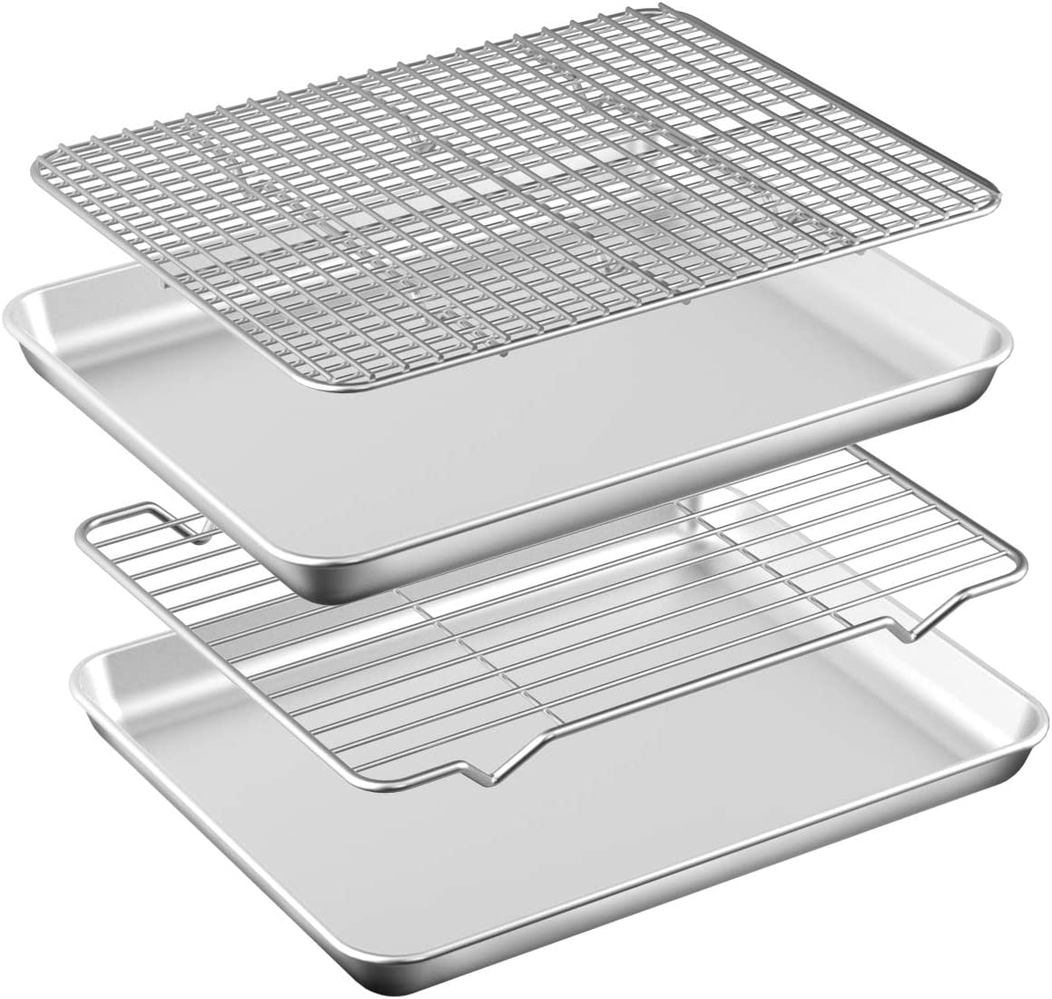 Baking Sheet with Rack Set [2 Pans + 2 Racks ] HKJ Chef Stainless Steel Cookie Sheet Baking Pan Tray with Cooling Rack, Size 9x7x1 Inch, Non Toxic & Heavy Duty & Easy Clean