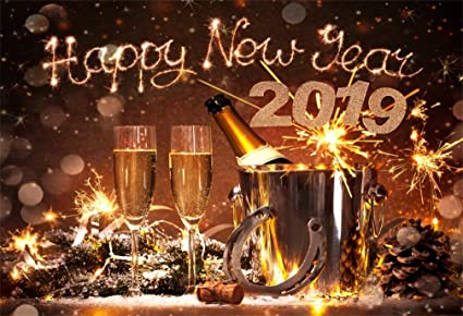 lfeey 7x5ft happy new year 2019 background champagne fireworks celebrate lucky clevis backdrop old horseshoe fortune
